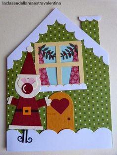 BIGLIETTI CASETTE INNEVATE Christmas Time, Christmas Crafts, Merry Christmas, Christmas Decorations, Chrismas Cards, Xmas Cards, Fancy Fold Cards, Folded Cards, Diy Paper
