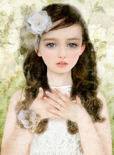 By Miharu Yokota Painting Gallery, Art Gallery, Black And White Rabbit, Christmas Rose, Briar Rose, Painting Of Girl, Beautiful Fairies, Fantasy Paintings, Fantasy Girl