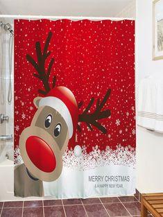 Christmas Elk Fabric Waterproof Bath Shower Curtain - RED XL