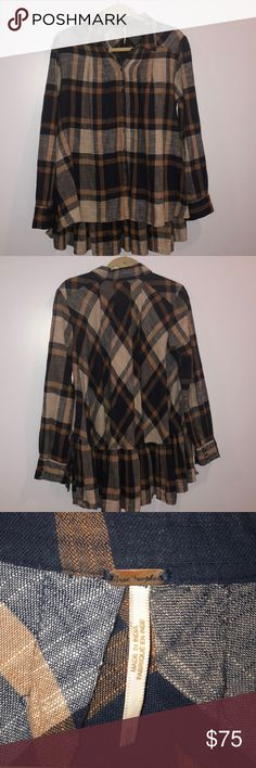 Free people Preppy in plaid Good condition. Product detail: Linen blend; Hand wash cold; Button front closure; Button cuffed sleeves; Asymmetric hem; Style No. OB412734 Free People Tops Button Down Shirts