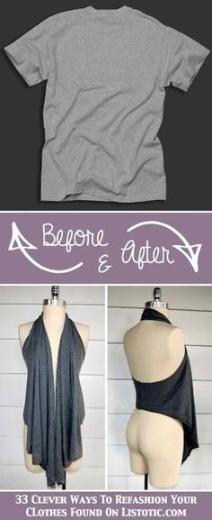 Old Tee turned into a cute draped vest! No sewing, just cutting. by Flairdiva
