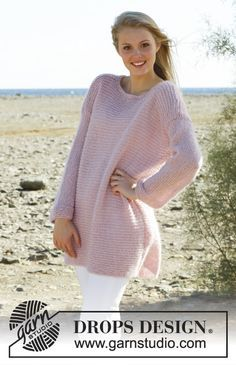 Knitted DROPS jumper in garter st in Alpaca, Kid-Silk and Glitter. Size: S - XXXL. Free pattern by DROPS Design.