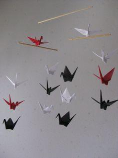 Mini Origami Crane Mobile  Red White and Black by makikomo on Etsy, $15.00