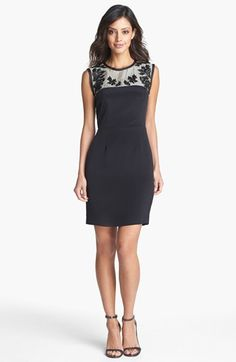 Nicole Miller 'Deco Rose' Embroidered Yoke Sheath Dress available at #Nordstrom
