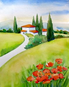 """Tuscany Poppies"" Watercolor Painting by Meltem Kilic © Meltem Kilic, painting by artist Meltem Kilic"