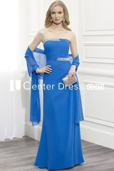 $127.49-Strapless Ruched Chiffon Blue Long Mother Of The Bride Dress With Shawl. http://www.ucenterdress.com/strapless-ruched-chiffon-mother-of-the-bride-dress-with-beading-and-cape-pMK_300254.html.  Tailor Made mother of the groom dress/ mother of the brides dress at #UcenterDress. We offer a amazing collection of 800+ Mother of the Groom dresses so you can look your best on your daughter's or son's special day. Low Prices, Free Shipping. #motherdress
