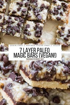 7 Layer Paleo Magic Bars - grain-free, vegan, dairy-free, refined sugar-free, healthier version than classic Magic Bars. A great holiday treat recipe! #vegan #dairyfree #bars #cookiebars #holidaydessert #dessert #recipe #magicbars #paleo #grainfree