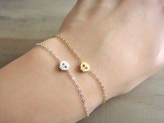 Tiny Skull Bracelet in STERLING SILVER by Beazuness on Etsy, $15.00