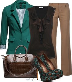 """Green and Brown"" by styleofe on Polyvore"