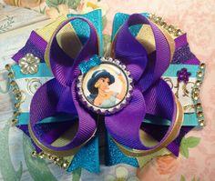 Jasmine Hair Bow/Princess Jasmine Hair Bow/Jasmine Girls Hair Bow/Disney Inspired Bow/Girly Curl Bow/Boutique Style Hair Bow/Jasmine Bow by GirlyCurlBowtique on Etsy