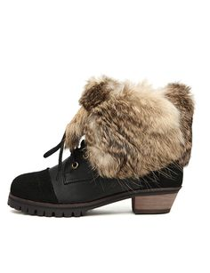 Fashion Lace-Up Short Boots with Fur Trim~