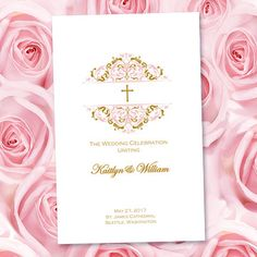 Catholic Wedding Program Grace Blush Pink & by WeddingTemplates
