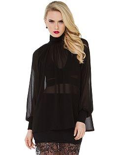Black Long Sleeve Chiffon Blouse