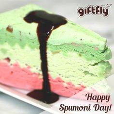 Happy Spumoni Day! Enjoy this delicious dessert to celebrate #spumoni day! If you never heard of or tried spumoni, it is a Italian ice cream cake with different layers of ice cream containing candied fruits and nuts. #bestdaysoftheyear #spumoniday #italiandesserts