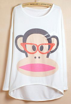 I WANT I WANT I WANT!!!  White Batwing Sleeve Paul Frank Monkey Print Dipped Hem T-Shirt - Sheinside.com