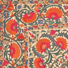 Antique Silk Uzbek Suzani Textile