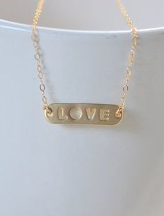 Simple Gold LOVE Bar Necklace. Everyday Gold Bar