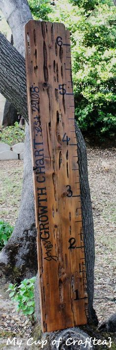 Hand-painted ruler growth chart from an old fence board <3: