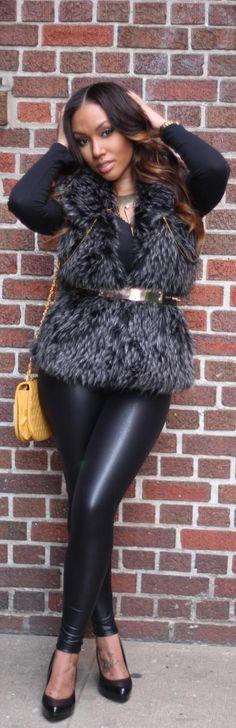 fur vest + leather pants = gorgeous street style