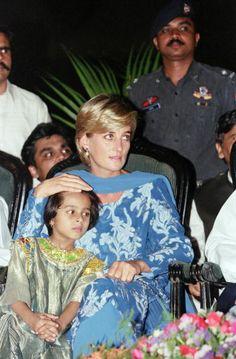 Princess Diana during a visit to the Shaukat Khanum Memorial Hospital in Lahore, Pakistan, May 23, 1997.