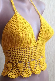Crochet halter tops/ Yellow crochet top/ Festival от ElenaVorobey