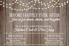 This rustic rehearsal dinner invitation is the perfect way to celebrate the happy couple and their wedding party. >>>HOW IT WORKS<<<  This invitation is available as a printable DIGITAL file or a PRINTED invitation. Printable Digital File: You will receive a high resolution JPEG and PDF file for you to print yourself. You can print at home or you can send to an office supply store or professional printer. The file is customized by our shop with your information. Our timefram...