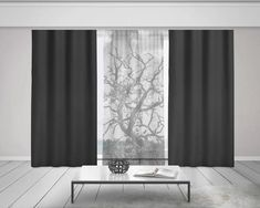 Black and White Curtains, Tree Branches Sheer Window Curtains, Tree Curtains, Nature Home Decor, Opa