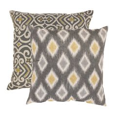 @Overstock - A bold Damask pattern chicly contrasts with an oversized diamond Rodrigo pattern in this throw pillow set from Pillow Perfect. These two pillows are constructed with 100-percent cotton covers covered with a graphite and yellow color pallet.http://www.overstock.com/Home-Garden/Pillow-Perfect-Damask-and-Rodrigo-Throw-Pillows-Set-of-2/7213339/product.html?CID=214117 $57.99