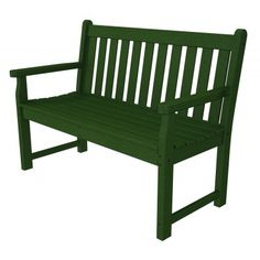 """POLYWOOD Traditional Garden 48"""" Bench in Green - Put this cozy bench on your deck, patio or even under a nice big shade tree and you've got the perfect place to lounge."""