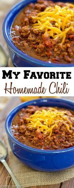 Favorite Homemade Chili This is my absolute favorite chili recipe and the only one I use! It is ridiculously flavorful and so simple to throw together.Read-only In computer technology, read-only can refer to: Chilli Recipes, Mexican Food Recipes, Crockpot Recipes, Soup Recipes, Dinner Recipes, Healthy Recipes, Homemade Chili Beans Recipe, Muffin Recipes, Side Dishes