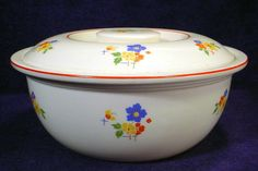 Vintage Homer Laughlin HLC Kitchen Kraft Ovenserve Covered Casserole Dish Bowl