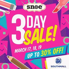 Get ready southern belles!  Time to hoard your fave Snoe products because we're giving you up to 30% off in our SM Southmall branch from March 17-19  #Beauty #makeup #skincare