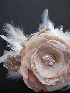 Vintage Rustic Wedding hairpiece bridal fascinator by LeFlowers