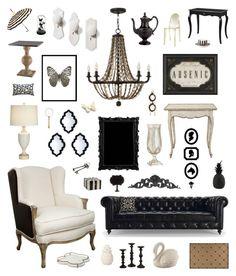 """modern victorian"" by crystalliora ❤ liked on Polyvore featuring interior, interiors, interior design, home, home decor, interior decorating, Dot & Bo, Fredrick Ramond, Liljebergs and Currey & Company"