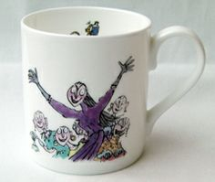Fantabulous English bone china mug with quotes from Roald Dahl's most popular books and decorated with Quentin Blake's wonderful illustrations.  Text reads :   'A vitch who dares to say I'm wrong vill not be here very long.'   Click on additional images to see the reverse. Your Price	£7.50