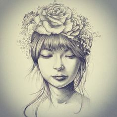 hipster tumblr girl with flower crown drawing - Google Search