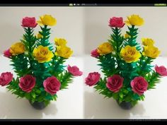 How to Make Beautiful Flower with Paper - Making Paper Flowers Step by Step - DIY Paper Flowers Paper Flower Decor, How To Make Paper Flowers, Paper Flower Backdrop, Giant Paper Flowers, Flower Crafts, Diy Flowers, Quilling Flowers Tutorial, Paper Flower Tutorial, Diy Papier