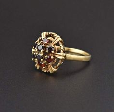 Garnet Flower Cluster 14K Gold Ring