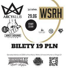 Jedyny i niepowtarzalny ARCY Sound System to specjalny poniedziałkowy cykl w którym popis dają najlepsi. Na start WSRH (Shellerini/Słoń). Kto mógł sobie wymarzyć lepszy początek? Poznańska grupa muzyczna powstała w 2008 roku z inicjatywy Shellera i Słonia wraz z nimi oczywiście DJ Soina.