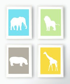SALE Set of 4 Zoo Animal Prints  Giraffe Hippo Elephant Lion