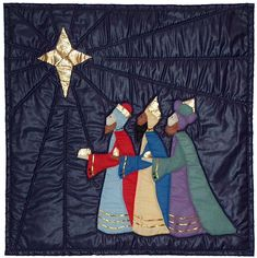 Wise men still seek Him. This wise men quilt pattern is a longtime favorite. Stunning in polished cottons and gold lame. The perfect gift for the church pastor. Applique (hand, machine or fusible) quilt pattern.