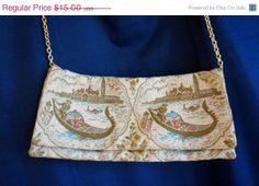 ON SALE Vintage Venice Goldolier Brocade by BlueEyedFillyVintage