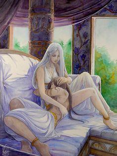 In the hollow of her arms by Vyrhelle-VyrL.deviantart.com on @deviantART