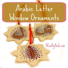 ACraftyArab: Arabic Letter Window Ornament Tutorial. Once I finished my cup yesterday and took it out of the oven later, the kids were jealous that I did a craft without them. Since I had picked up a few more porcelain items from our local Dollar Tree, this afternoon I let them each make the first letters of their names into ornaments to hang …