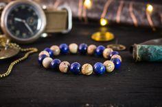 8mm - Blue Lapis Lazuli  brown jasper stone beaded stretchy bracelet, mens bracelet, womens bracelet, made to order gemstone bracelet