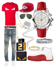 """""""Casual"""" by pitbull8382 on Polyvore featuring Fendi, Balmain, Breitling, Marco Ta Moko, New Era and Gucci"""