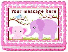 "GIRLS+ELEPHANTS+Edible+image+cake+topper+1/4+sheet+(10.5""+x+8"")"