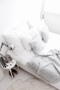 White & light grey bedroom