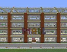 Modern Shopping Mall - GrabCraft - Your number one source for MineCraft buildings, blueprints, tips, ideas, floorplans! Minecraft Mods, Minecraft City, Amazing Minecraft, Minecraft Blueprints, Minecraft Creations, Minecraft Projects, Minecraft Designs, Minecraft Ideas, Minecraft Buildings