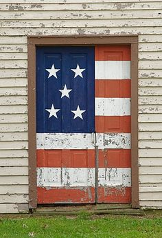 Painted weathered WOOD FLAG